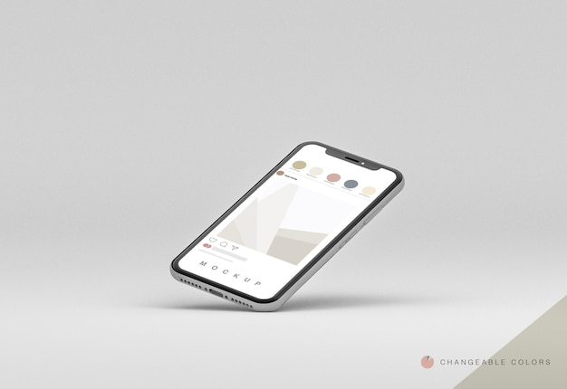 Minimal 3d laying phone with rrss interface mockup levitating