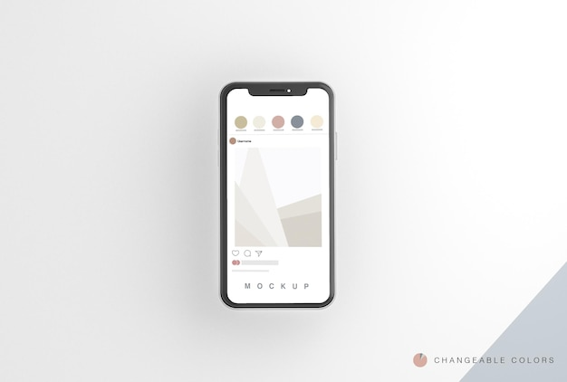 Minimal 3d phone with rrss interface mockup levitating