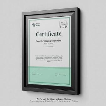Минимальный портретный современный сертификат формата а4 с макетом рамки