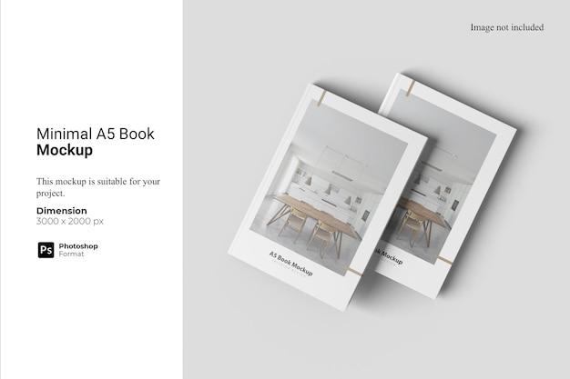 最小限のa5ブックモックアップデザイン