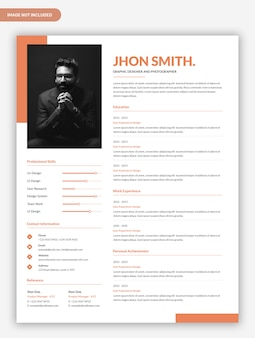 Minimal abstract cv resume template design