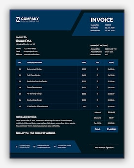 Minimal abstract dark business invoice template