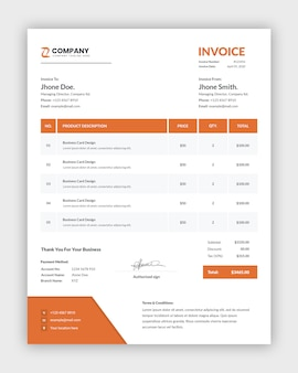 Minimal abstract orange business invoice template