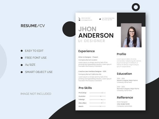 最小限でクリーンな履歴書または履歴書テンプレート