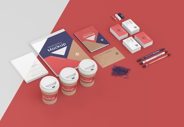 Minimal assortment of stationery objects