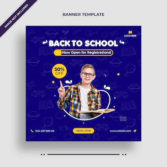 Minimal back to school social media post, square flyer or web banner template Premium Psd