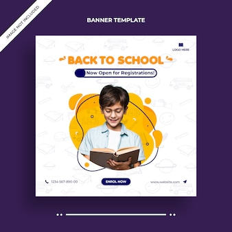 Minimal back to school social media post, square flyer or web banner template
