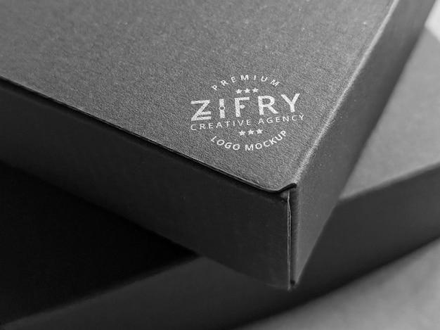 최소한의 블랙 박스 판지 로고 모형
