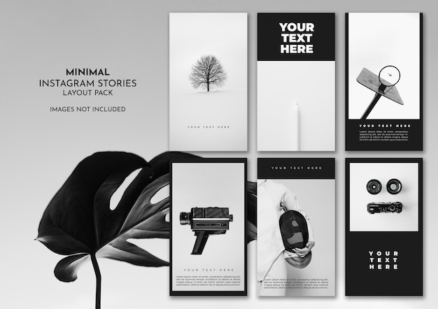 Minimal black and white instagram layout pack