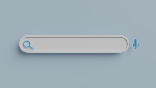 Минимальный пустой фон панели поиска. концепция веб-поиска. 3d рендеринг