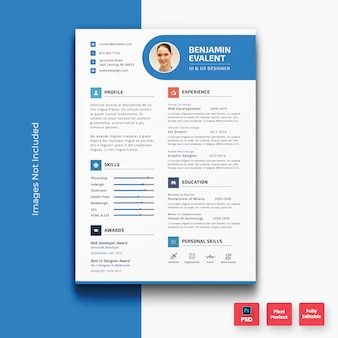 Minimal blue resume cv template-01