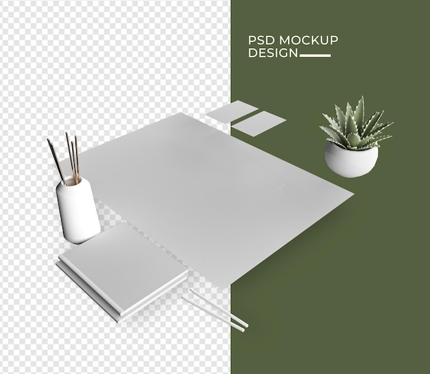 Minimal branding mockup near potted plant and marble