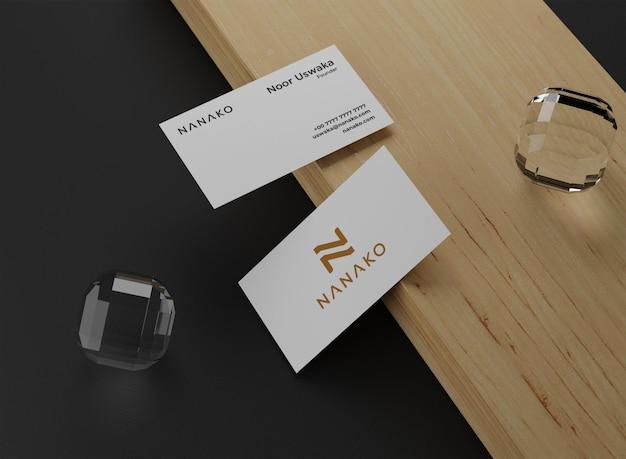 Minimal business card mockup on black background