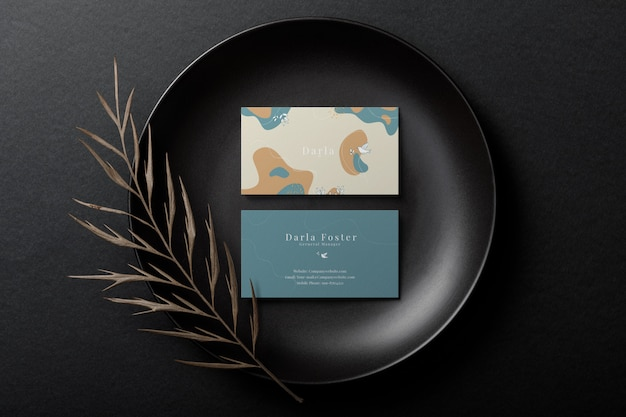Minimal business card mockup on black plate