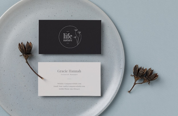 Minimal business card mockup on blue plate background