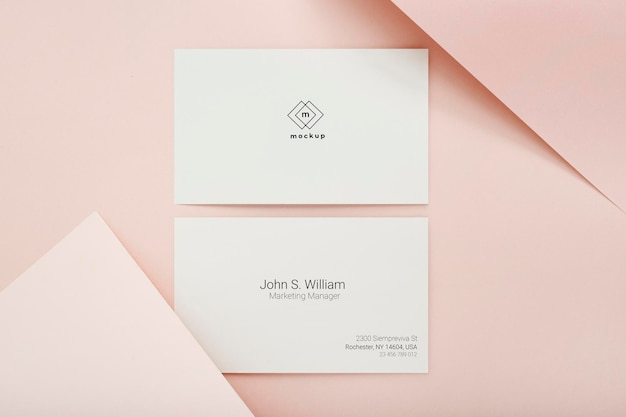 Minimal business card mockup, front and back side, top view