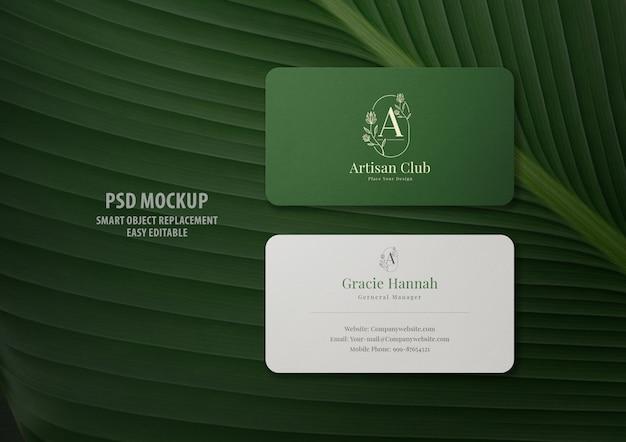 Minimal business card mockup on leaves
