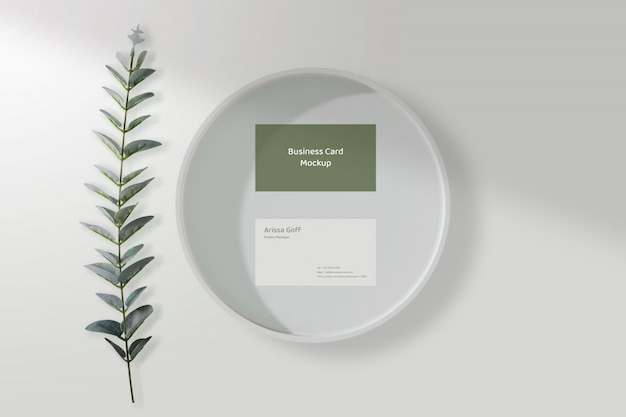 Minimal business card mockup on the white dish