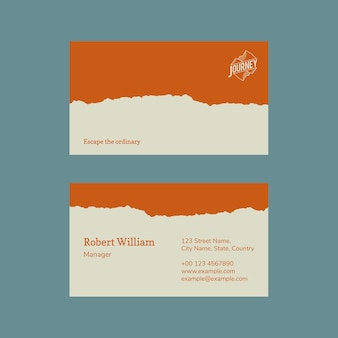 Minimal business card template psd photo attachable for travel agency