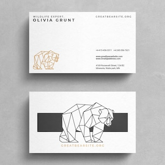 Minimal business card template with a bear logo