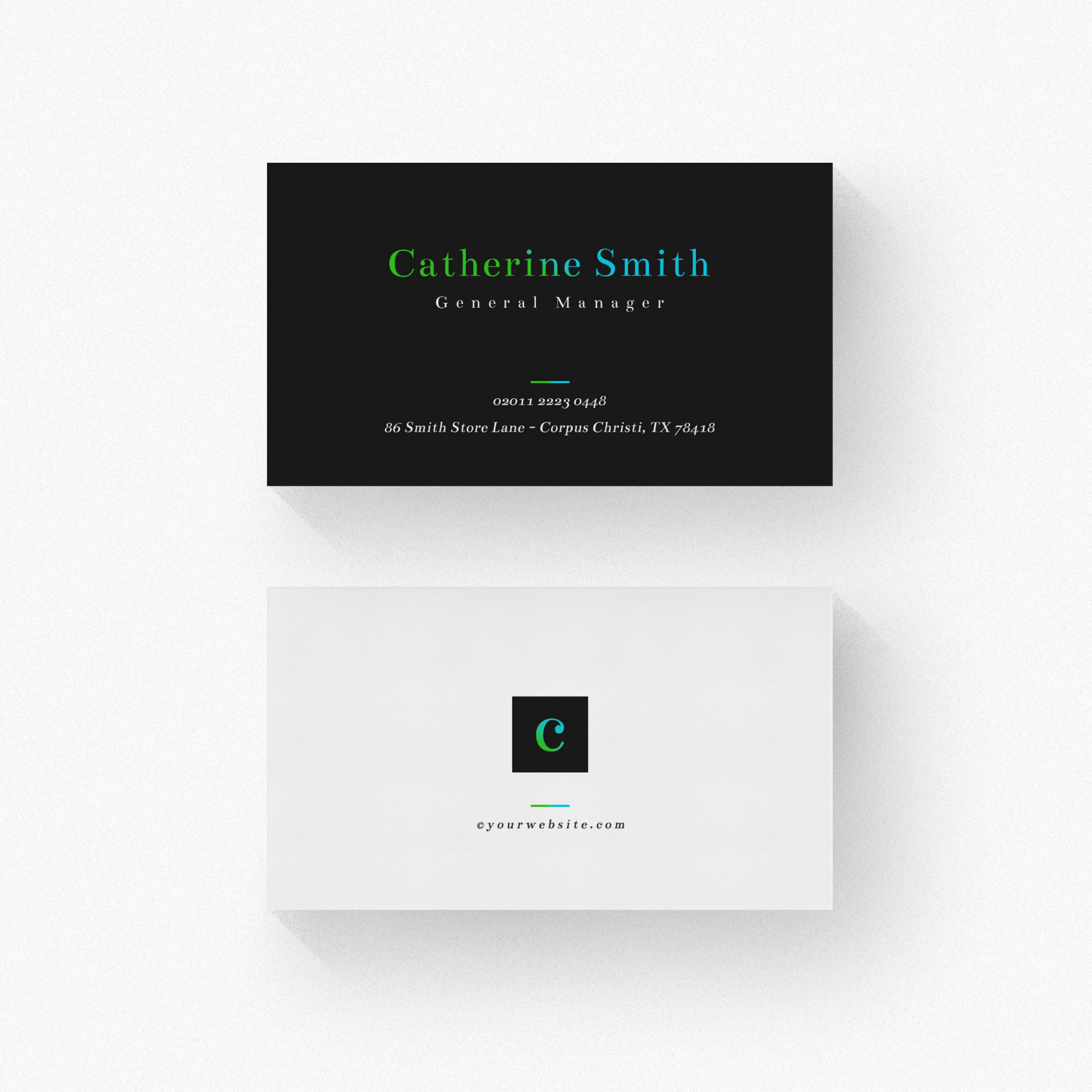 Minimal business card with black details
