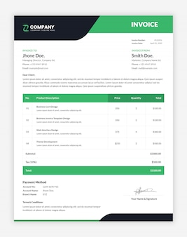 Minimal business invoice template