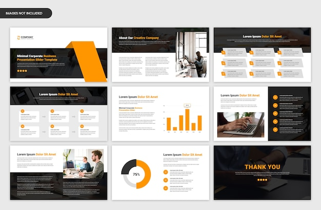 Minimal business and startup project overview presentation slider template