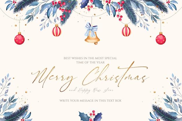 青と赤の装飾品と最小限のクリスマスの背景