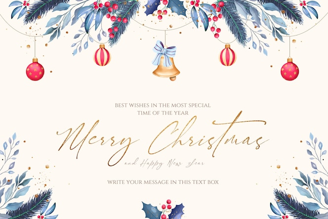 Минимальный новогодний фон с синими и красными украшениями