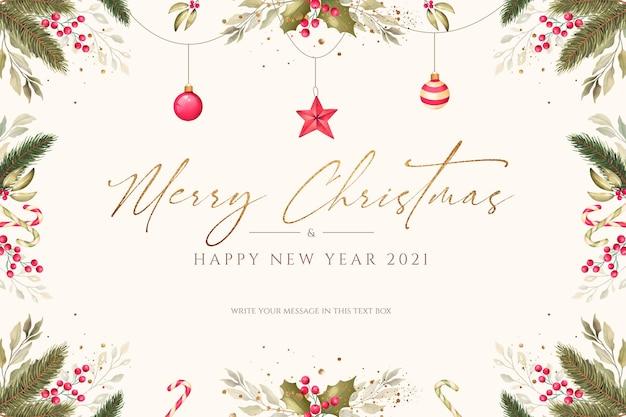 Минимальный новогодний фон с акварельными украшениями