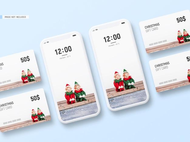 Minimal christmas gift card mockup with phone mockup