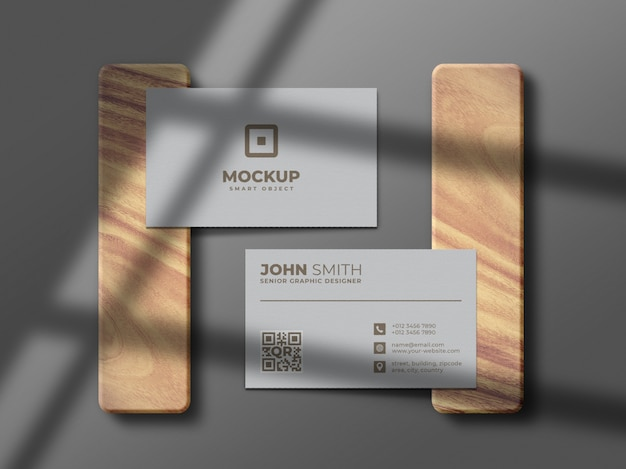 Minimal and clean business card mockup on wood piece