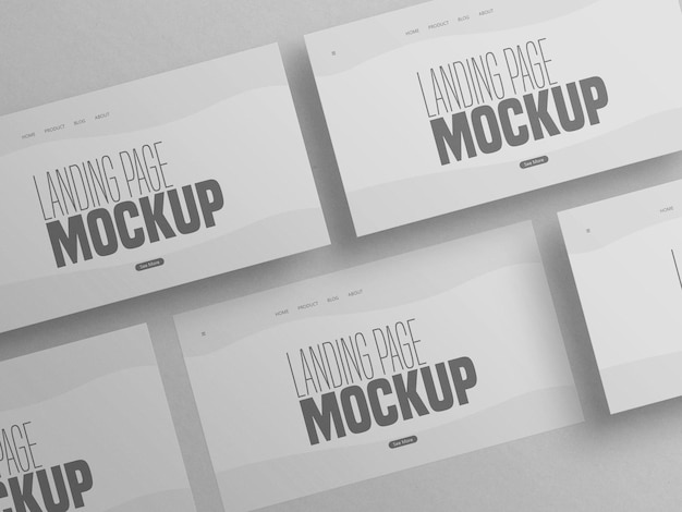 Minimal clean multiple landing page website mockup