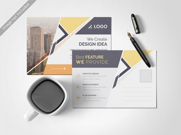 Minimal clean post card design template