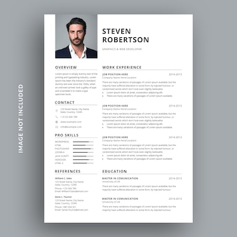 Minimal and clean resume cv template design