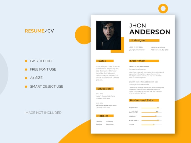 Minimal and clean resume or cv template