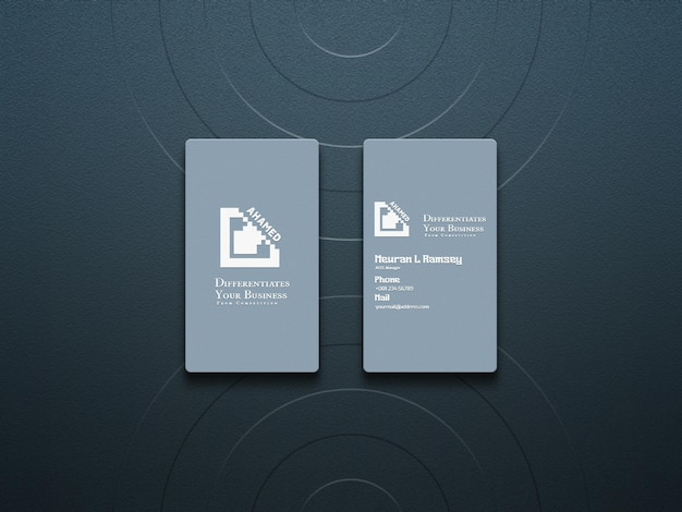 Minimal and clean rounded corner float business card mockup