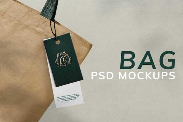 Etichetta di abbigliamento minimale mockup psd per marchi di moda