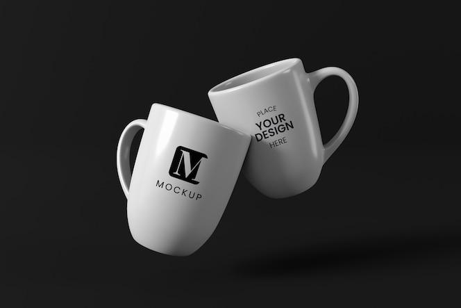 Minimal coffee mugs arrangement