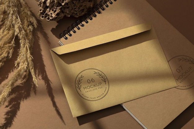 Minimal composition of stationery mock-up
