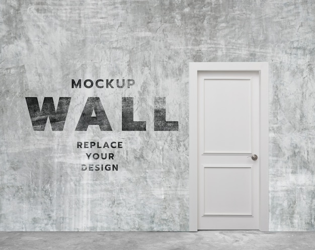 Minimal concrete wall room and door mockup