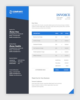 Minimal corporate business invoice template design