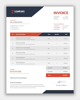 Minimal corporate business invoice template