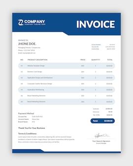 Minimal corporate invoice template design