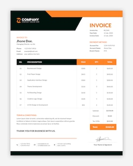 Minimal corporate invoice template