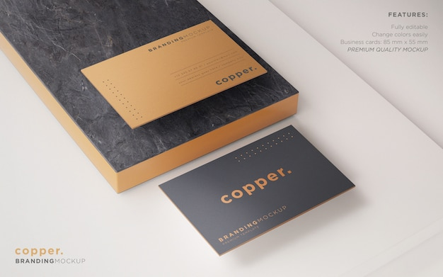 Minimal dark and copper business card psd mockup