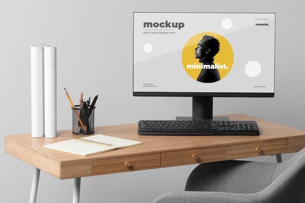 Minimal desktop workspace mock-up design Free Psd