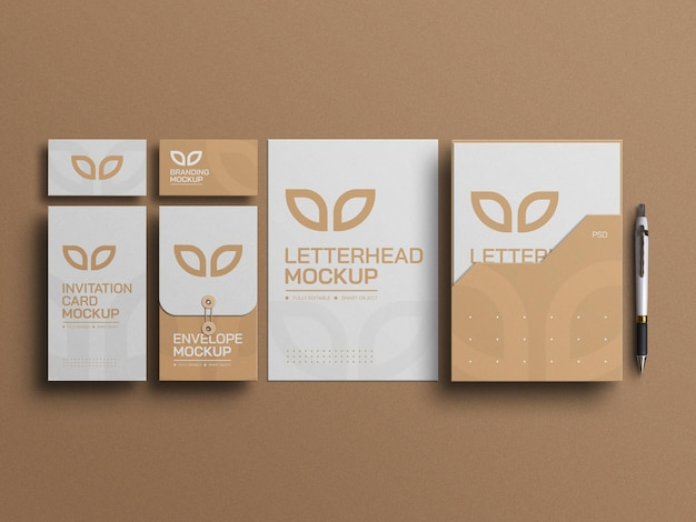Minimal documents with envelope stationery and business cards mockup