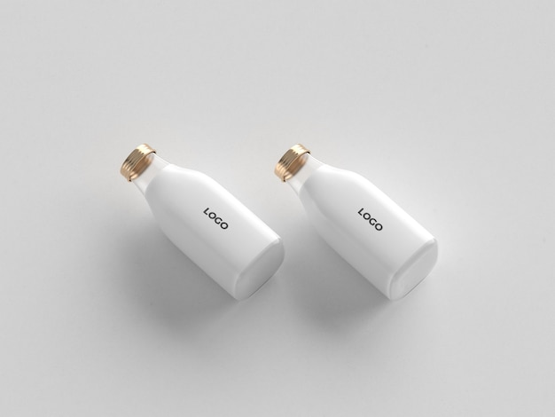 Minimal double milk bottle mockup