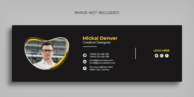 Minimal email signature template or email footer and personal social media cover design